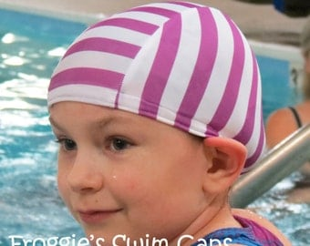 Lycra SWiM CaP - PURPLE STRIPE - Sizes - Baby , Child , Adult , XL - Made from Spandex / Swimsuit Swimming Fabric -by Froggie's Swim Caps