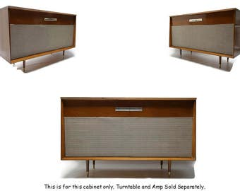 VintedgeCo™ - TURNTABLE READY Series™ - Mid Century WEBCOR Vintage Stereo Console Wood Cabinet