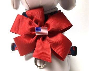 Dog Harness- The Patriotic Polka Dot