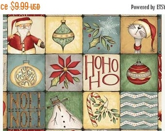 15% off thru 3/31 CHRISTMAS WHIMSY patchwork squares Red Rooster Fabric Panel-Whimsicals, Santa, snow man, 25209-mul1