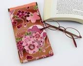 Cute Glasses Case, Kimono Glasses Case, Reading Glasses Case, Case For Glasses, Cherry Blossoms Pink