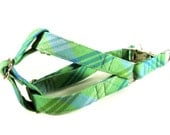 Plaid in Mint Dog Step in Harness