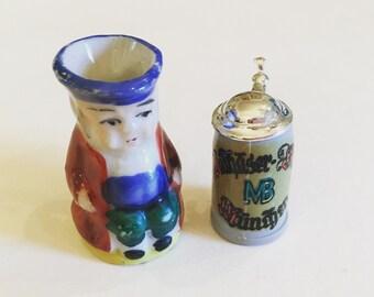 Miniature Dollhouse Vintage Set of Two Beer Steins Beer Mugs Made in Germany Made in Japan