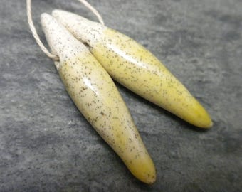 Spines- handmade ceramic speckled yellow earring bead charm pair tribal 3177