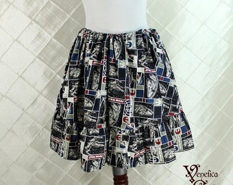 "HALF OFF SALE Star Wars Mini Ruffle Skirt -- Rebel Ships Cotton Print -- Ready to Ship -- 16"" Length -- Fits up to 38"" Waist or Upper Hip"