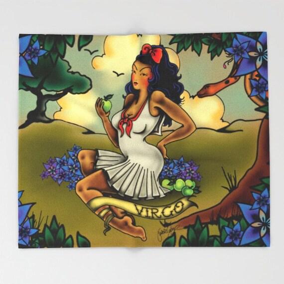 Horoscope Tattoo Virgo Blanket