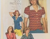 Simplicity 6518, Size 16, Misses' Blouse Pattern, UNCUT, How To Sew Series, Retro, Casual Wear, Vintage Pattern, 1974