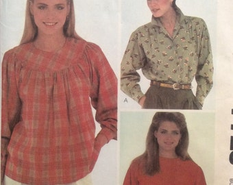 McCall's 7723, Size 10, Misses' Shirts Pattern, UNCUT, Willi Wear LTD, Designed by Willi Smith, Vintage 1981, Gathered Yoke, Gussets