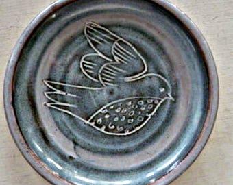 Vintage Sgraffitto-Style Bird Shallow Dish
