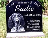 Pet Grave Marker Pet Memorial Plaque Granite Head Stone & *Base Stand* Customized w/ YOUR Pets Photo Outdoor/Indoor Stand Garden Memorial