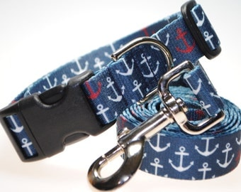 """Anchors Collar and Leash Combination - 1"""" Width"""