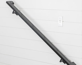 10u0027 Industry Handrail (4 Brackets)   Tube Steel Hand Rail Wall Rail Stair
