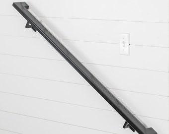 4' Industry Handrail (2 brackets) - Tube Steel hand rail wall rail stair step railing wall mount