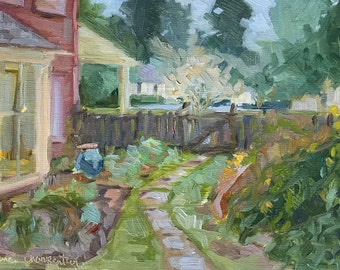 "The Side Garden, Oil Painting on Linen, 8""x10"""