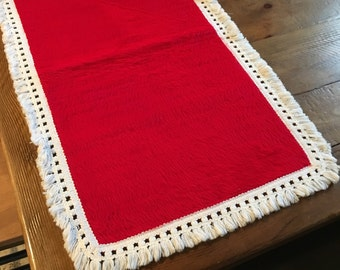 Red fur white fringe trimmed table runner retro christmas goodness