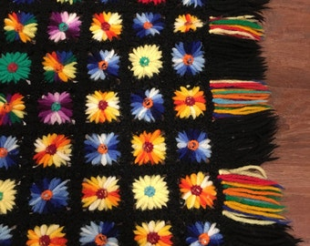 LARGE  RAINBOW Afghan granny square blanket Multi Colored floral Crocheted Vintage patchwork small flowers black background