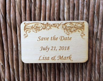 Wooden Save the Date magnet C, personalized