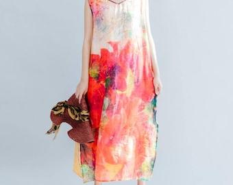 Romantic sleeveless Long dress Summer hem open dress