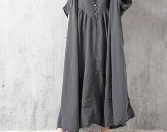 loose fitting long Oversize dress gray large size dress loose fitting maternity dress