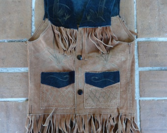 vintage boys original cowboy vest suede leather size 2 costume retro kitsch