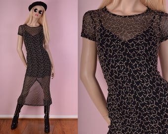 90s Embroidered Mesh Dress/ Small/ 1990s/ Short Sleeve