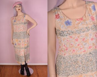 90s Floral Print Maxi Dress/ US 14/ 1990s/ Tank/ Sleeveless