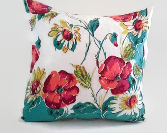 Bright Floral Print Pillow Cover 20 Inch Square Upcycled 20 X 20 Red Poppies, White Daisies