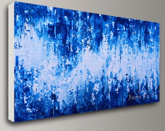 abstract painting Acrylic Painting art painting blue large wall art home interior office bedroom decor Textured impasto canvas custom Visi