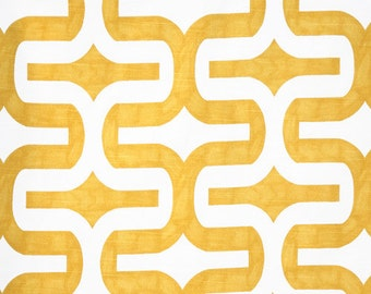 Yellow White Geometric Embrace Curtains  Rod Pocket  63 72 84 90 96 108 or 120 Long by 24 or 50 Wide