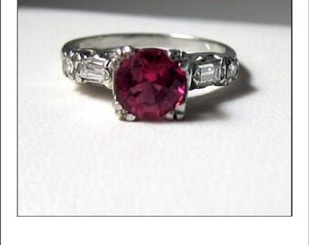 Antique 14k Pink Tourmaline and Diamond Engagement Ring