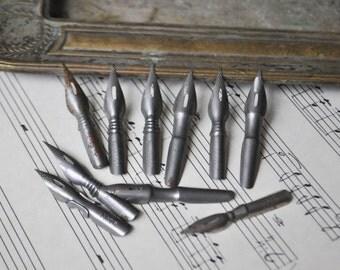 Vintage metal ink pen nibs. Set of 10.