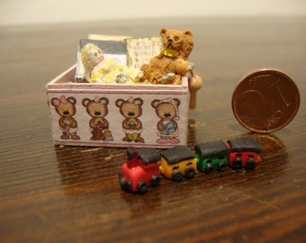 dollhouse, miniatures, wooden crate, in mahogany wood, with, toys