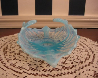 Fostoria Heirloom blue opalescent bowl, molded and crimped