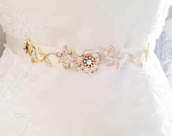 Gold leaf bridal belt gold leaf bridal sash ivory bridal sash wedding belt