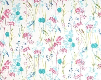 """Two  96"""" x 50""""  Custom Curtain Panels  -  Indoor/Outdoor - Floral - Teal, Pink, Green, White"""
