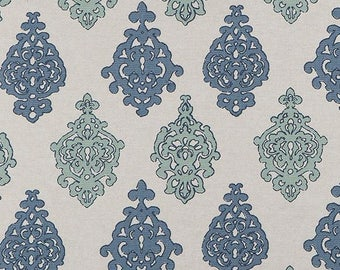 Two 96 x 50 Custom Curtain Panels - Scott Living Damask - Blue