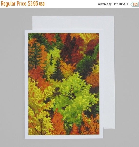 20% OFF SALE Fall Color Leaves on Trees Fine Art Note Card