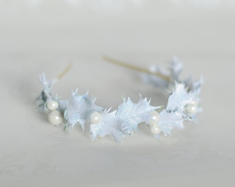 Holiday Headband - White Glittering Holly with Berries - Hand Painted Vintage Hair Accessory - Winter Wedding - Party Ready To Ship