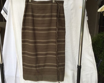 Ralph Lauren blanket Skirt fringe wrap Midi Skirt brown plaid wool skirt business office skirt 6P vintage Downton Abbey