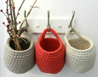 3 Hanging Crocheted Baskets