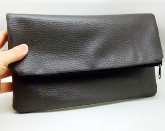 Foldover zipper clutch, zipper pouch, wedding purse, evening clutch, bridesmaid gifts set - Gray soft leather(Ref. FZ10)