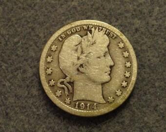 Circulated 1914-D Barber or Liberty Head SILVER Quarter. 90% SILVER