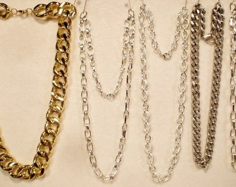 5 Vintage Heavy Bulky Chain Necklaces