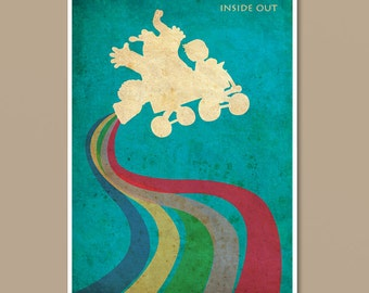 Pixar Inside Out Vintage Minimalist Movie Poster Print