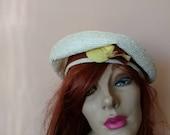 1950s - 1960s White Woven Straw Beret Hat Gladys Belle Junior