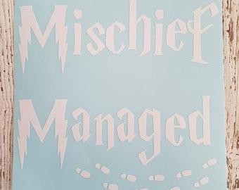 Mischief Managed Vinyl Sticker Window Car Truck Laptop Mischief Managed Decal