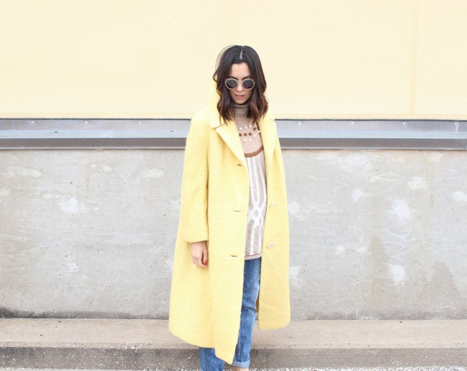 vintage pale yellow long winter coat
