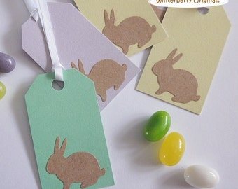 Easter Gift Tags - Green, Yellow, and Lavendar with Brown Bunny - Set of 6