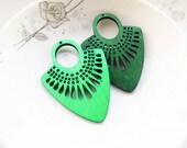 Dyeing Series - 39x 54mm  Filigree Green /Dark Green Fan Shape Geometrical Wood Dangle/ Wooden Charm/Pendant / Wood earrings NM135
