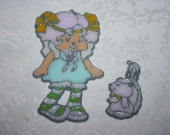 Vintage Strawberry Shortcake Character Angel Cake with Pet Skunk Stained Glass Suncatcher